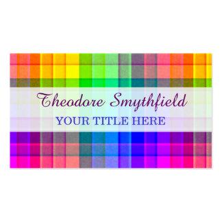 Rainbow Plaid Custom Business Card