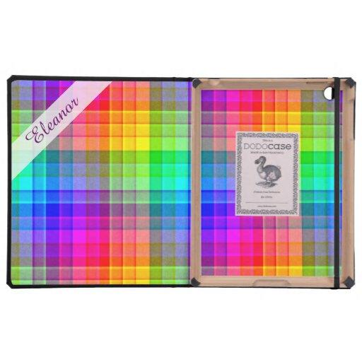 Rainbow Plaid Custom iPad Cover