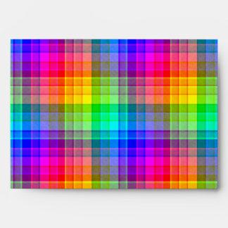 Rainbow Plaid Custom Envelope