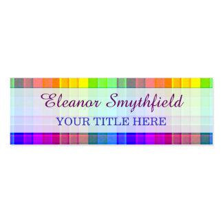 Rainbow Plaid Custom Mini Business Card