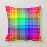 Rainbow Plaid Custom Throw Pillow