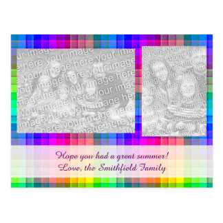 Rainbow Plaid Custom Two Photo Postcard