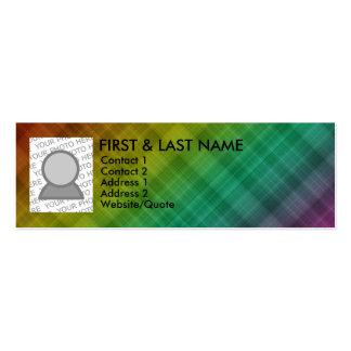 rainbow plaid mini business card