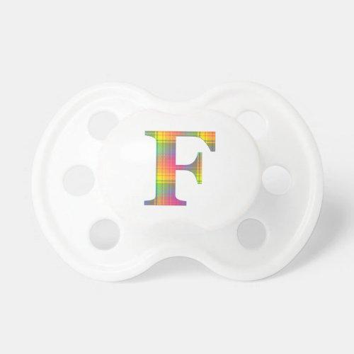 Rainbow Plaid Monogram Pacifier