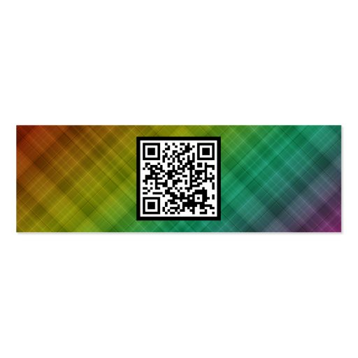 rainbow plaid QR code Business Cards