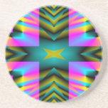 Rainbow Plaid Warped Design Beverage Coasters