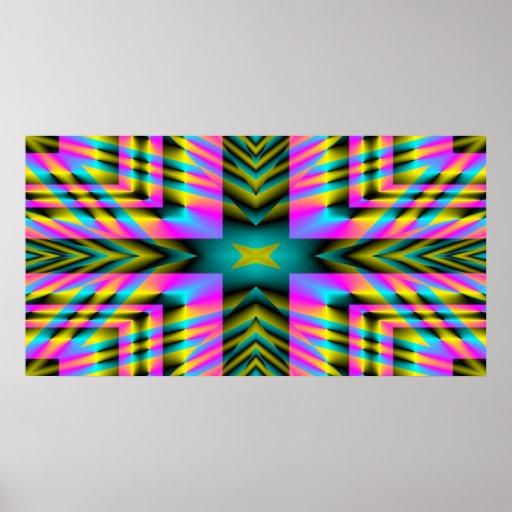 Rainbow Plaid Warped Design Posters