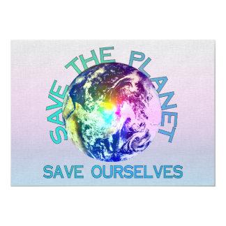 Rainbow Planet 5x7 Paper Invitation Card
