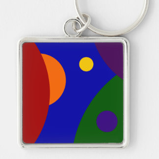 Rainbow Planets Silver-Colored Square Keychain