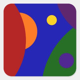 Rainbow Planets Square Sticker