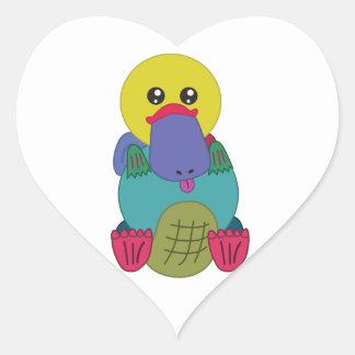 Rainbow Platypus Heart Sticker