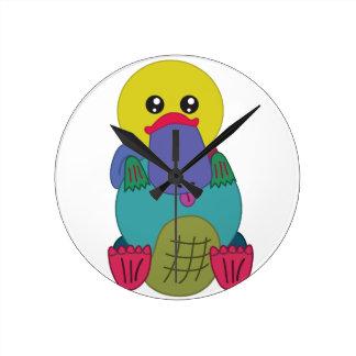 Rainbow Platypus Round Clock