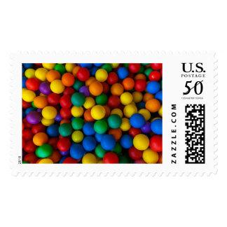 Rainbow Play Balls Pattern Postage