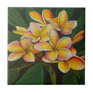 Rainbow Plumeria Ceramic Tile