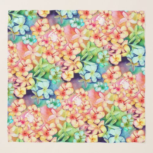 Rainbow Plumeria Hawaiian Watercolor Sarong Scarf