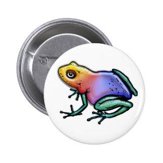 Rainbow Poison Dart Frog 2 Inch Round Button