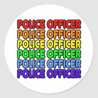 Rainbow Police Officer Classic Round Sticker