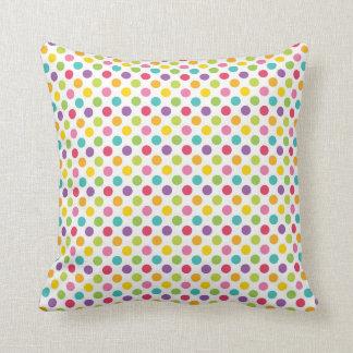 Rainbow Polka Dot Bedroom Throw Pillows
