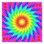 Rainbow Polka Dot Kaleidoscope Mandala Photo Print