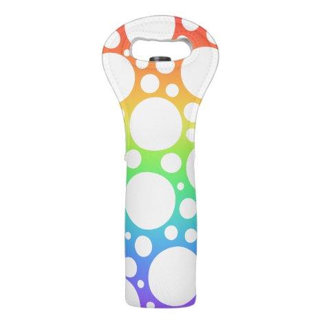 Rainbow Polka Dot Wine Bag