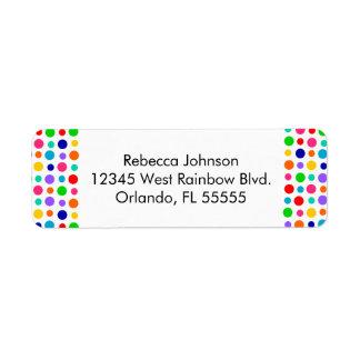 Rainbow Polka Dots Address Label