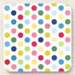 Rainbow polka dots beverage coaster
