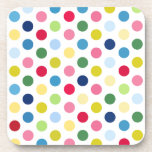 """Rainbow polka dots beverage coaster<br><div class=""""desc"""">&quot;polka dot&quot;, dots, dot, rainbow, colorful, multicolor, multicolored, &quot;rainbow dots&quot;, &quot;rainbow polka dots&quot;, pattern, dotty, spots, spotty, &quot;multicolor dots&quot;, &quot;multicolor polka dots&quot;, cute, candy, girly, girlie, retro, white, 50s, 1950s, fun, fifties, trendy, cool, happy, jolly, bright, cheerful, teen, teenage, kids, children, colors, pink, red, blue, green, yellow, bold, circles, roygbiv,...</div>"""