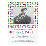 """Rainbow Polka Dots Birthday Party Invitation 5"""" X 7"""" Invitation Card"""