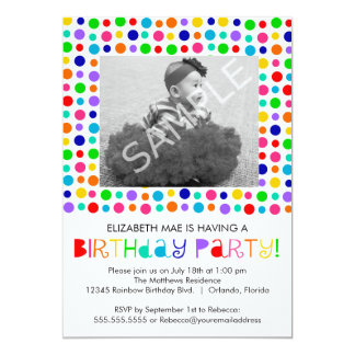 Rainbow Polka Dots Birthday Party Invitation