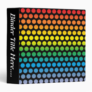 "Rainbow Polka Dots Black - 1.5"" Binder"