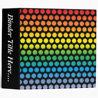 """Rainbow Polka Dots Black - 2"""" Binder"""
