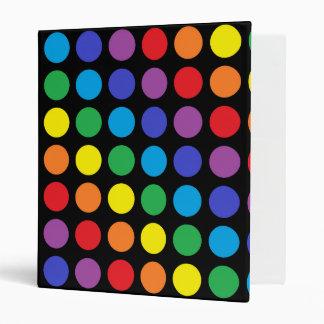 Rainbow Polka Dots Black Binder