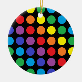 Rainbow Polka Dots Black Ceramic Ornament
