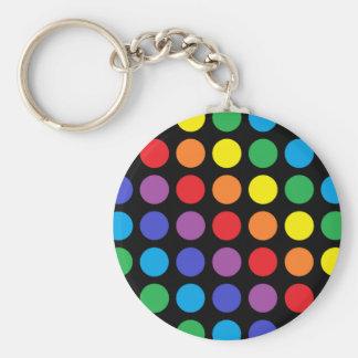 Rainbow Polka Dots Black Keychain