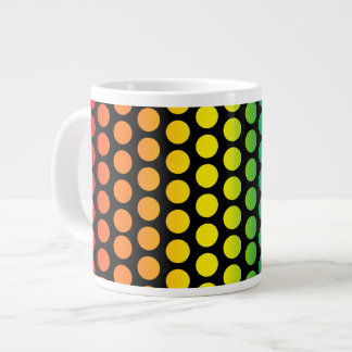 Rainbow Polka Dots Black Large Coffee Mug