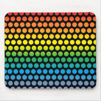 Rainbow Polka Dots Black Mouse Pad