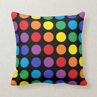Rainbow Polka Dots Black Pillow