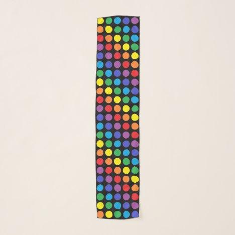 Rainbow Polka Dots Black Scarf