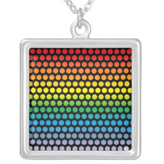 Rainbow Polka Dots Black Silver Plated Necklace