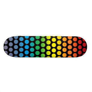 Rainbow Polka Dots Black Skateboard Deck