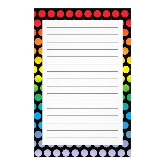 Rainbow Polka Dots Black Stationery