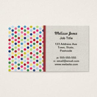 Rainbow polka dots business card