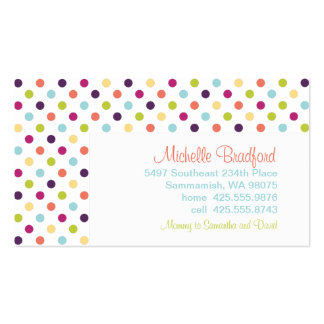 Rainbow Polka Dots Calling Card Business Card Template