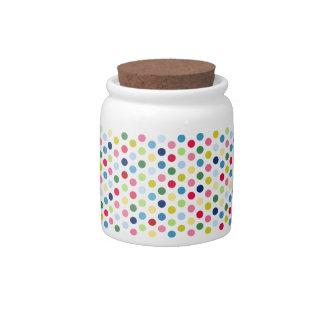 Rainbow polka dots candy jars