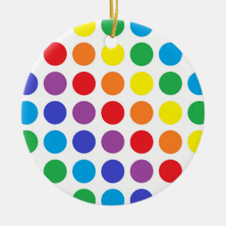 Rainbow Polka Dots Ceramic Ornament