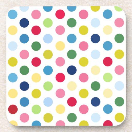 Rainbow polka dots drink coasters