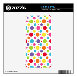 Rainbow polka dots decals for the iPhone 4