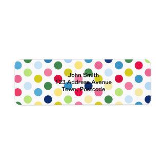 Rainbow polka dots label