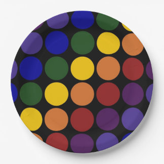 Rainbow Polka Dots on Black 9 Inch Paper Plate