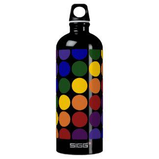 Rainbow Polka Dots on Black Aluminum Water Bottle